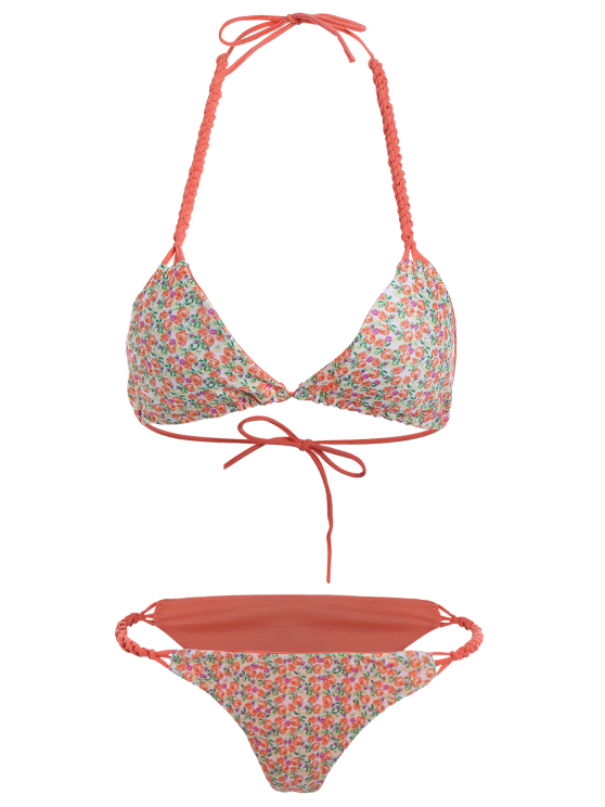 Small Floral Braided String Bikini Set - FLORAL M Mobile