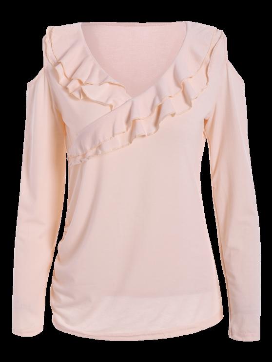 Cold Shoulder V Neck Ruffles T-Shirt - PINK M Mobile