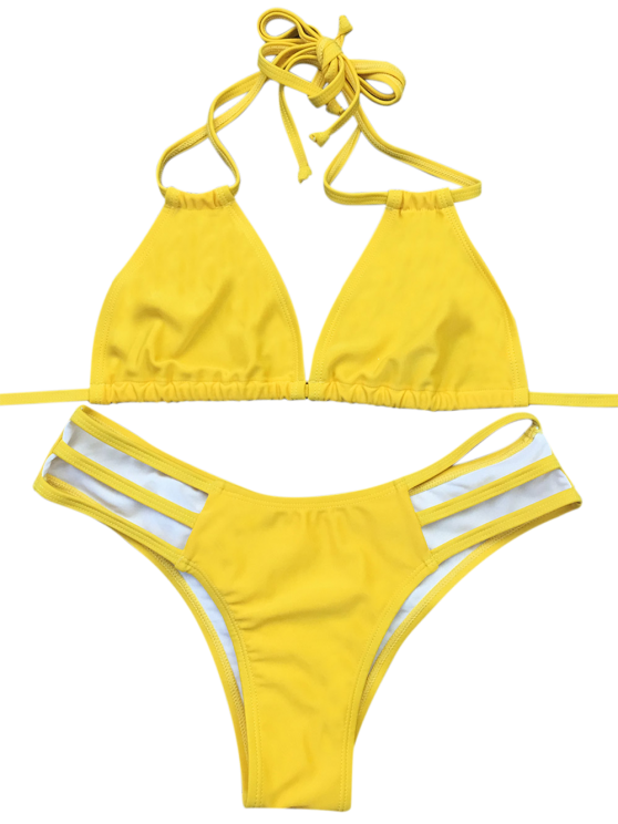 Side Strap Plunge Bikini - YELLOW S Mobile