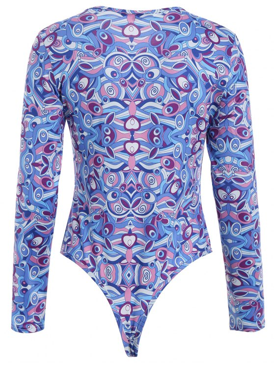 Butterfly Pattern Bodysuit - BLUE XL Mobile