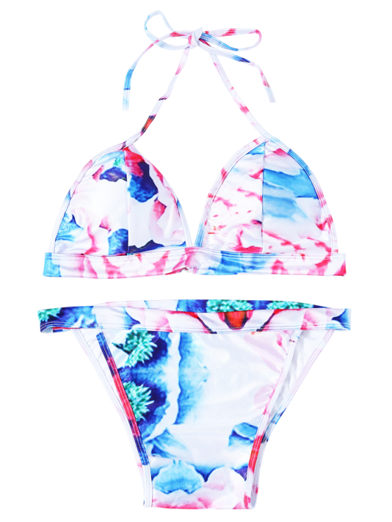 Halter Flower Print Thong Bikini - WATER RED XL Mobile