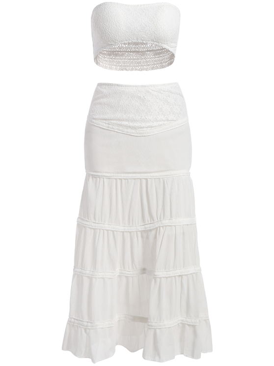 Tuve-Top and Maxi Skirt Two Piece Prom Dress - WHITE M Mobile