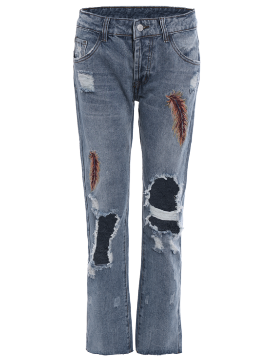 Low Waist Leather Embroidery Ripped Jeans - BLUE GRAY S Mobile