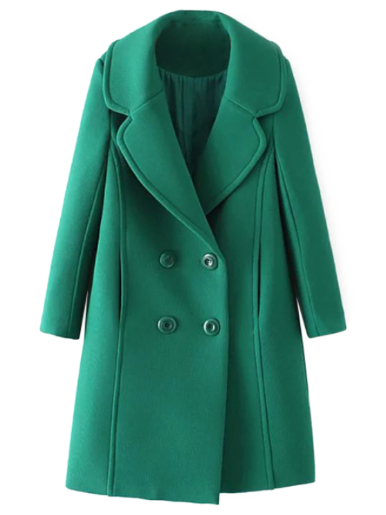 lady Textured Double Breasted Lapel Coat - GREEN S