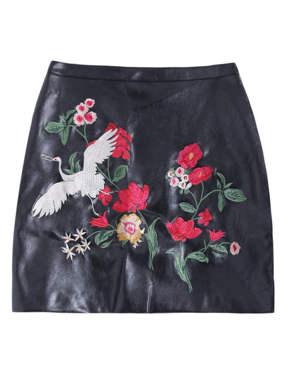 Embroidered PU Leather Mini Skirt - BLACK L Mobile