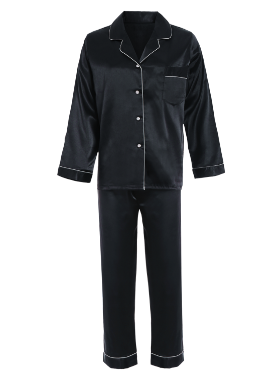 Fitting Silk Nightwear Pajamas - BLACK M Mobile