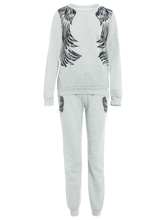 Wings Printed Sweatsuit - LIGHT GRAY L Mobile