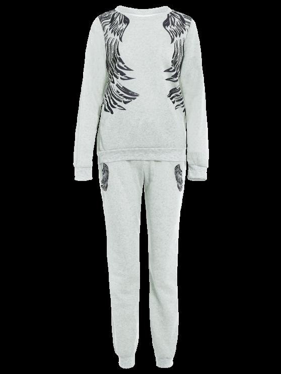 Wings Printed Sweatsuit - LIGHT GRAY L Mobile