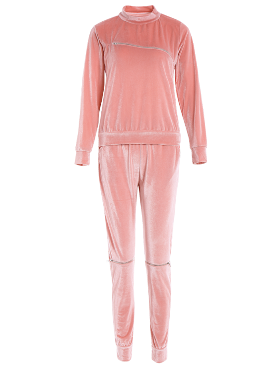Zippers Velvet T-Shirt and Sports Pencil Pants - ORANGEPINK S Mobile