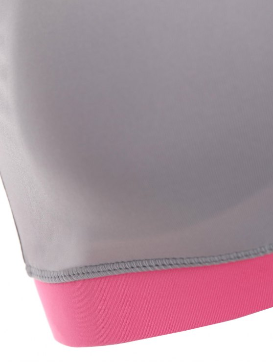 Running Color Block Sports Top - PEACH PINK S Mobile