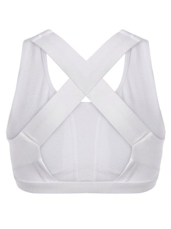 Cross Back Padded Sporty Bra Top - WHITE M Mobile