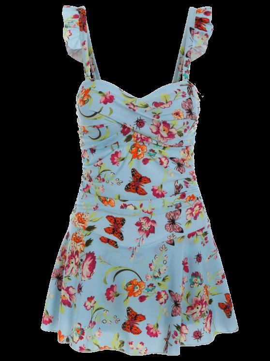 women's Ruffles Floral Push Up Skirted Swimwear - LIGHT BLUE M