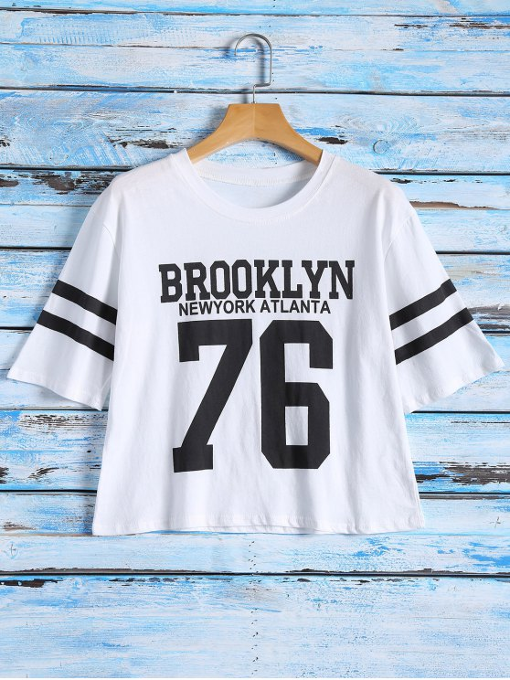 buy Graphic T-Shirt With Stripe Sleeve - WHITE ONE SIZE