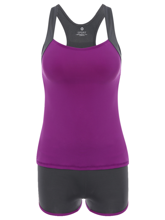 outfit Color Block Tank Top and Sports Shorts - PURPLE M