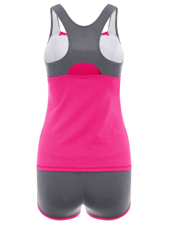 Color Block Tank Top and Sports Shorts - ROSE RED L Mobile
