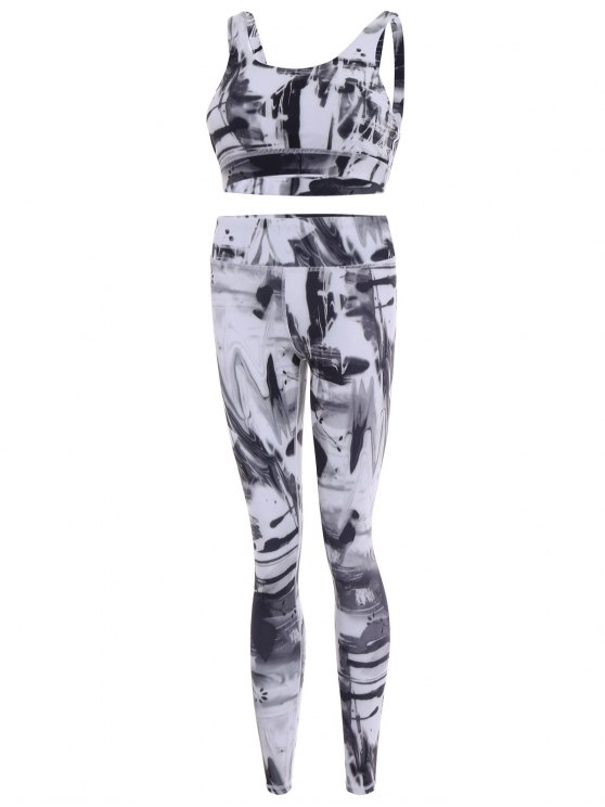 Sports Bra and Leggings Gym Sweat Suit - WHITE L Mobile