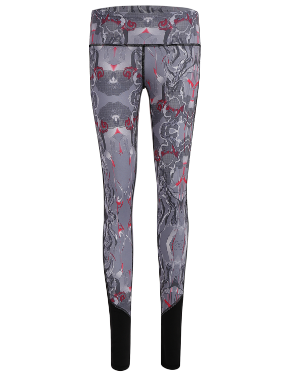unique Printed Cropped Sports Leggings - GRAY M