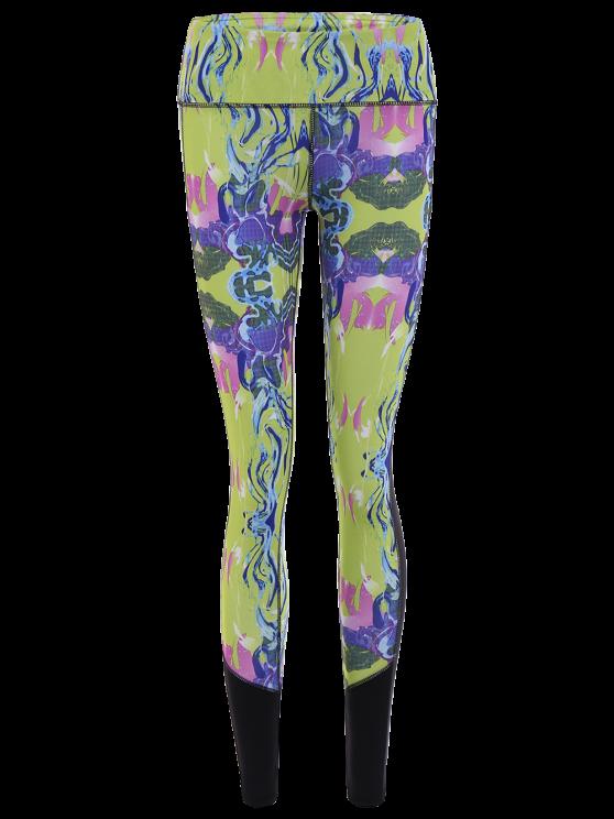 chic Printed Cropped Sports Leggings - BLUISH YELLOW XL