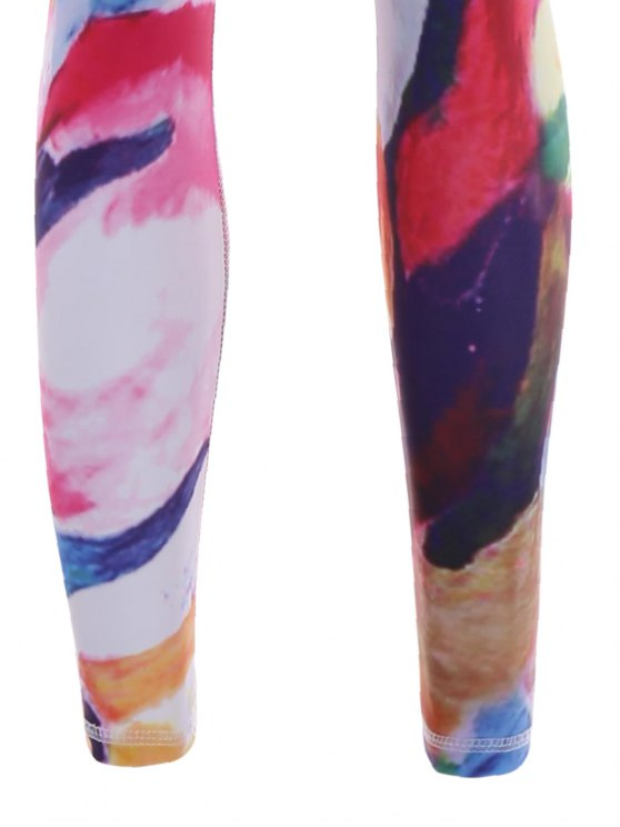 Printed Sports Bra and Leggings Sweat Suit - ROSE RED M Mobile