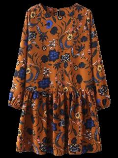 Floral Long Sleeve Drop Waist Dress - Ginger S