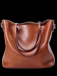 Buckles PU Leather Metal Shoulder Bag - Brown