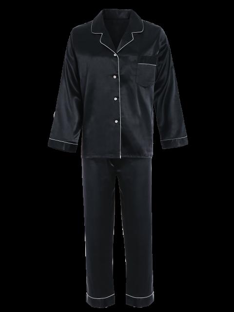 outfits Fitting Silk Nightwear Pajamas - BLACK M Mobile
