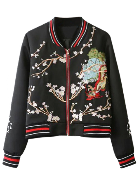 new Flower Embroidery Bomber Jacket - BLACK L Mobile