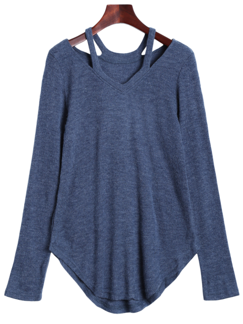chic Cut Out Pullover Sweater - BLUE GRAY S Mobile