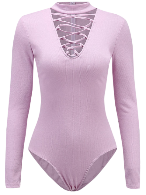 Long Sleeve Lace Up Choker Bodysuit - Violet Clair M Mobile