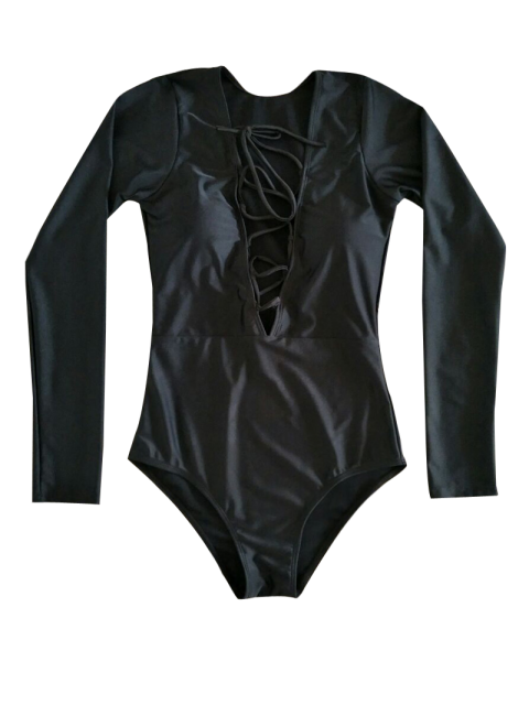 women's Long Sleeve Lace Up One Piece Rushguard - BLACK S Mobile