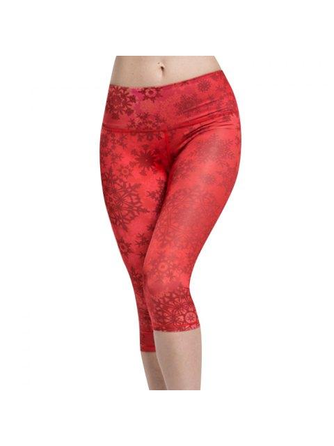 lady Snowflake Print Capri Leggings - RED L Mobile