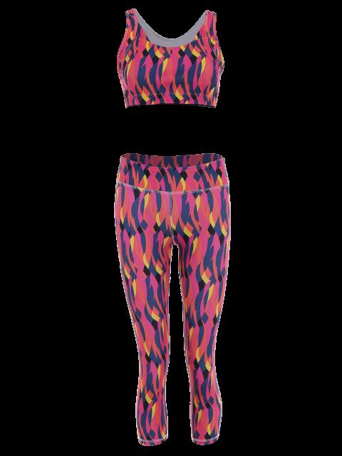 women Printed Bra and Skinny Capri Leggings Set - ROSE RED L Mobile