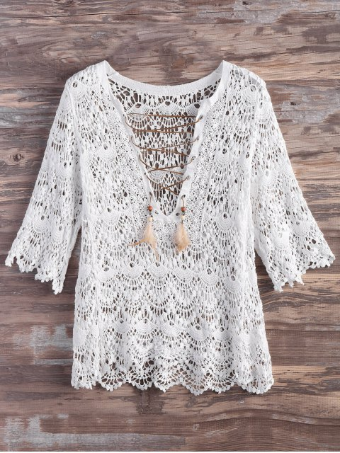 lady Crochet Lace Up Feather Cover Up - WHITE L Mobile