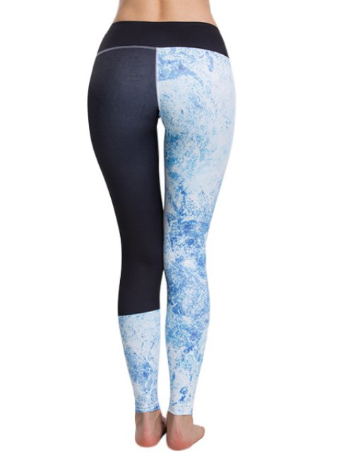 sale Panelled Curve Sports Leggings - BLUE AND BLACK L Mobile