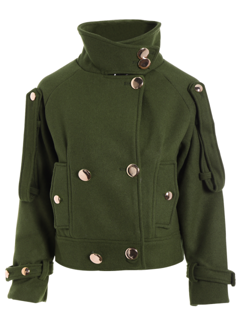 shop Cropped Wool Blend Bridge Coat - ARMY GREEN M Mobile
