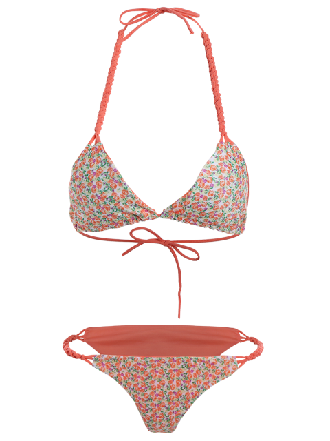 affordable Small Floral Braided String Bikini Set - FLORAL L Mobile