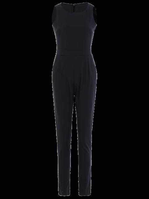 online Jewel Neck Black Backless Sleeveless Jumpsuit - BLACK L Mobile