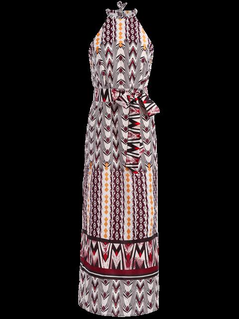 women Side Slit Belted Bohemian Dress - COLORMIX L Mobile