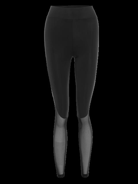 lady Mesh Insert Sport Leggings - BLACK M Mobile