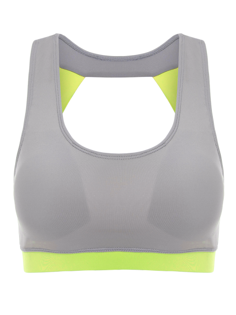 lady Running Color Block Sports Top - NEON GREEN XL Mobile
