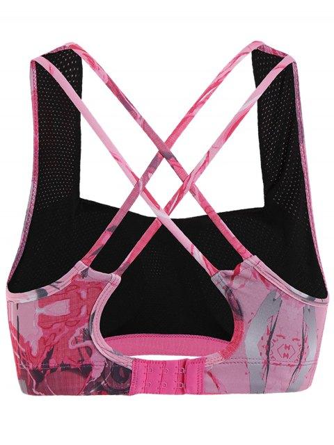 fashion Printed Strappy Sports Bra - PINK S Mobile