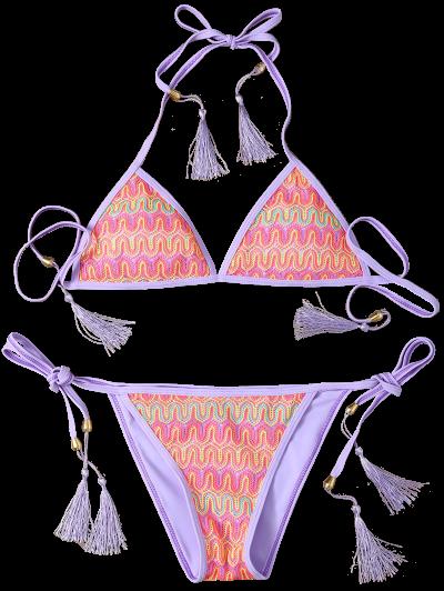 Halter Lace Patch String Bikini - PURPLE L Mobile