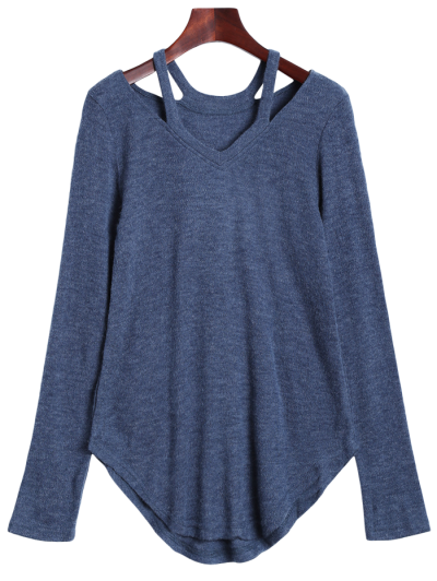 Cut Out Pullover Sweater - BLUE GRAY S Mobile