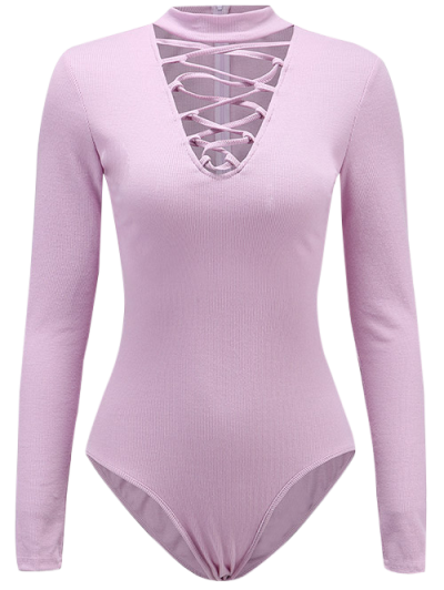 Long Sleeve Lace Up Choker Bodysuit - LIGHT PURPLE M Mobile