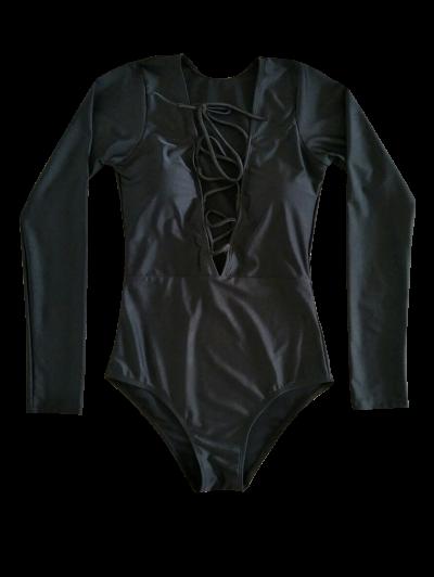 Long Sleeve Lace Up Bathing Suit - BLACK L Mobile