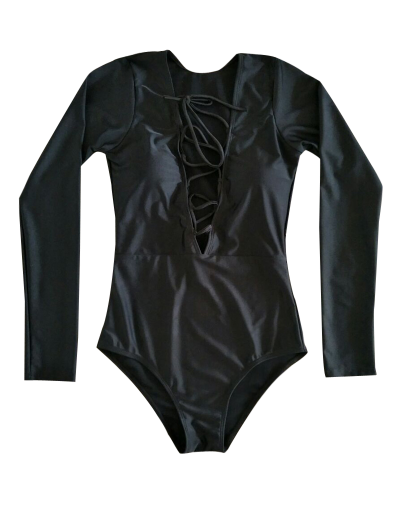 Long Sleeve Lace Up Bathing Suit - BLACK S Mobile