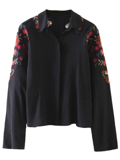 Cropped Flower Embroidered Shirt - BLACK S Mobile
