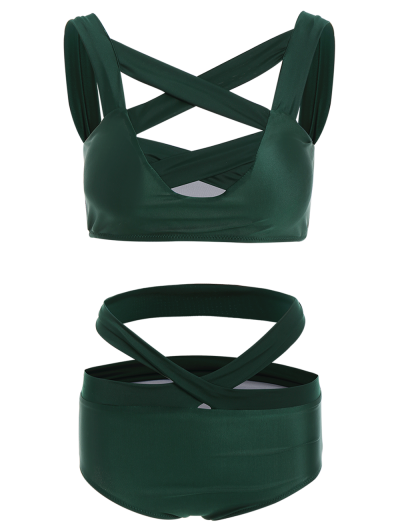 Crossover Cutout Bikini Set - GREEN XL Mobile