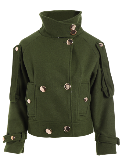 Cropped Wool Blend Bridge Coat - ARMY GREEN S Mobile