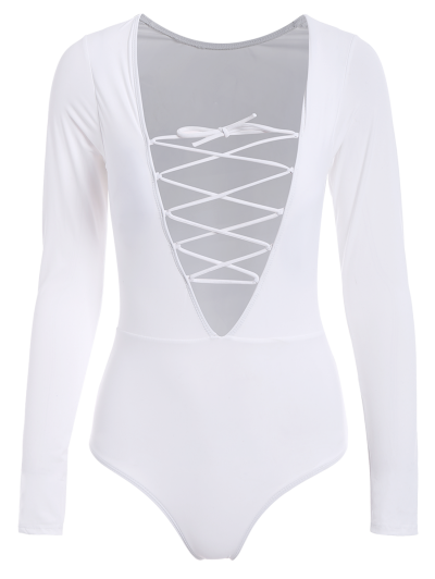 Long Sleeved Lacing Plunge Swimsuit - WHITE L Mobile